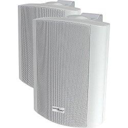 """STELLAR LABS 50-14940-INDOOR OUTDOOR Speaker Pair White 8"""" 70V 8 Ohm"""
