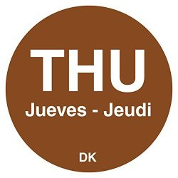 "DayMark IT1143924 ""thu"" Duramark Trilingual Permanent Label 3 4"" Circle Brown 1000 Per Roll"