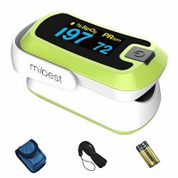 Mibest Green Dual Color Oled Finger Pulse Oximeter - Blood Oxygen Saturation Monitor With Color Oled Screen Display And Included Batteries - O2 Saturation Monitor
