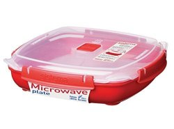 Sistema Microwave Cookware Plate Large 43.9 Ounce 5.5 Cup Red