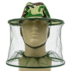 Hosaire 1 Pcs Beekeeper Beekeeping Outdoor Anti-mosquito Mask Camouflage Large Brim Anti-mosquito Bees Hat Cap With Veil Mosquito Fly Head Net Face Protection