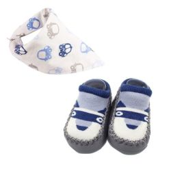 Baby Booties Set Of Two With Bib Grey blue 14 Cm