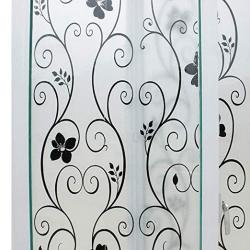 Mikomer Decorative Window Film Black Flower Static Cling Privacy Door Film Non Adhesive removable heat Control anti Uv For Offic