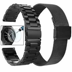 Koreda Compatible With Galaxy Watch 46MM GEAR S3 Frontier classic Bands Sets 2 Pack Stainless Steel Metal + Mesh Loop Strap Replacement For Ticwatch Pro galaxy Watch