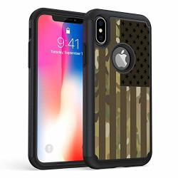 """Iphone Xr Case Rossy Heavy Duty Hybrid Tpu Plastic Dual Layer Armor Defender Protection Case Cover For Apple Iphone Xr 6.1"""" 2018 Usa Camouflage Flag"""