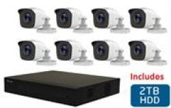 Hilook 8 Channel Dvr With 8X 720P HD Bullet Cameras And 2TB Hard Disk Drive Diy Combo Kit - Includes 8X 18M Pre-built RG59
