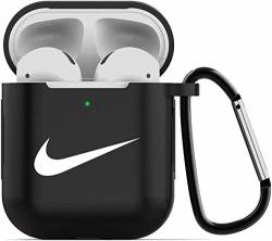 Gebaisi Protective Silicone Cover And Skin For Apple Airpods Charging Case With Keychain Black White A