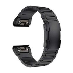LDFAS Fenix 5X Plus Band 26MM Titanium Metal Quick Release Easy Fit Watch Strap With Double Button Clasp Compatible For Garmin F