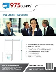 """975 Supply Labels - 4 Up Labels - Packaged In Re-usable Box - Shipping Mailing Labels - 5-1 2"""" X 4-1 4"""" Labels 400 Labels"""