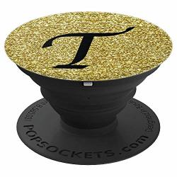 Gold Glamour Monogram Letter T Initial