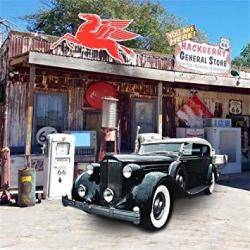 Aofoto 7X7FT Route 66 Road Rest Stop Backdrop Vintage Car Photography Background Old General Store Roadside Gas Station Western Us Travel Photo Studio