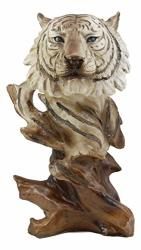 """Ebros Faux Wood Large Tundra Forest Wildlife Siberian White Tiger Bust Statue 11"""" Tall Apex Predator Giant Cat Tiger Or Tigress Decorative Figurine Siberian White Tiger"""