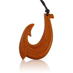 Glorified Enterprises USA, LLC Hawaiian Fish Hook Pendant Silicone Teething Necklace Bpa Free Makau Teether Wood Design