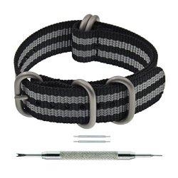 Mingzhuomaoyi Co.,Ltd 19MM Black grey Thick Zulu Bond Nato Nylon Watch Strap Replacement For Men
