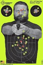 Splatterburst Targets - 12 X18 Inch - Bad Guy Reactive Shooting Target - Shots Burst Bright Fluorescent Yellow Upon Impact - Gun