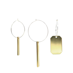 Brass Fukusasa - And Silver Lucky Charm Earrings L A Bird Named Frank - A Bird Named Frank