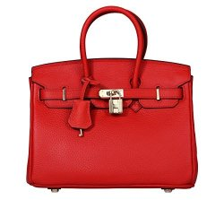 8625bd02a6 Videng Polo Padlock Handbags Genuine Leather With Gold Hardware Tote  Shoulder Bag For Women 25-RED