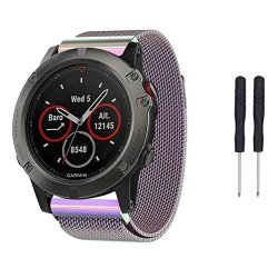 MyRBT Garmin Fenix 5X Watch Band Milanese Magnetic Loop Replacement Wristband Strap Bracelet For Garmin Fenix 5X Smart Watch Pur