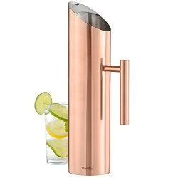 VonShef Stainless Steel With Copper Finish Water Pitcher With Ice Guard - 60 Oz