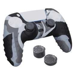 Sparkfox Playstation 5 Silicone Fps Grip Pack Skin And Thumb Caps - Camo Grey