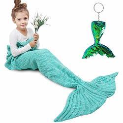 Amyhomie Mermaid Tail Blanket Mermaid Blanket Adult Mermaid Tail Blanket Crotchet Kids Mermaid Tail Blanket For Girls Teal Kids