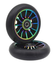 Pro Aibiku Stunt Scooter Wheel 100MM Replacement Wheels With ABEC-9 BEARING-2 Pcs A-colorful black