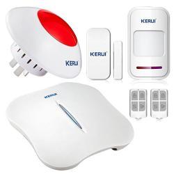 Kerui W1 Wireless Wifi Pstn Smart Home Burglar Alarm Security System Diy Kit Auto Dial Ios Android App Remote Control + Wireless Flashing Siren