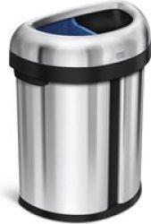 Stingray Simple Human Dual Compartment Semi-round Open Recycler Bin - 66L 33L 33L