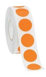 "Orange Roll Of 1000 Retails White Self-adhesive Labels 3 4"" Diameter Circle"