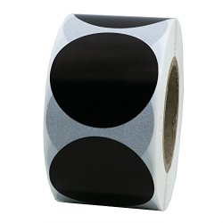 """Hybsk 1.5"""" Round Black Blank Shooting Target Pasters Coding Dot Labels Natural Paper Stickers Adhesive Label 500 Per Roll 1 Roll"""