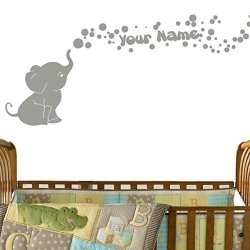 Decal The Walls Elephant Bubbles Vinyl Wall Decal With Your Personalized Name Nursery Decor Great Gift Grey
