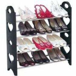 Fine Living 4 Tier Shoe Rack in Black
