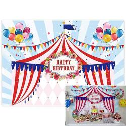 Allenjoy 7X5FT Photography Backdrop Background Circus Tents Stratus Playground Carnival Carousel Kids Birthday Party Banner Phot