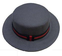 NE Norboe Women's Brim Fedora Wool Flat Top Hat Church Derby Bowknot Cap 600GREY
