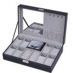 BASTUO Jewelry Box 8 Watch Display Case Organizer Jewelry Storage Box Black Pu Leather With Mirror And Lock
