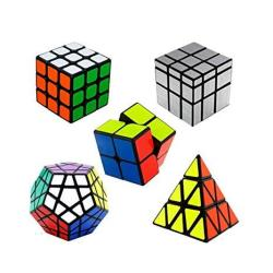 Shengshou Magic Cube Packed 2X2-3X3-PYRAMINX Cube-silver Mirror Cube-megaminx Cube Set