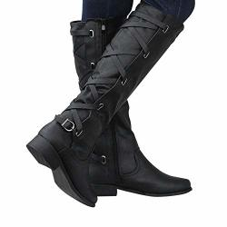 06b5396c045a6 MID Calf Boots Shybuy Womens Ladies Faux Leather Zip Buckle Boots Roman  Riding Knee High Cowboy Long Boots | R1380.00 | Fancy Dress & Costumes | ...