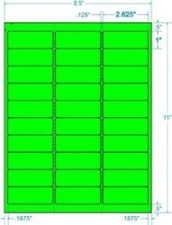 """BESTeck 100 Sheets 3000 Fluorescent Fba And Word Compatible Size Address Labels 30UP 2.625""""X1"""" 30 Labels Per Sheet. Ink Jet And Laser Guaranteed. Made In Usa Neon Fluorescent Green"""