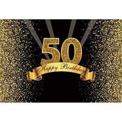 Yeele 10X8FT 50TH Birthday Backdrop For Photography Glitter Gold And Black Background Happy Birthday Party Decoration Banner Celebration Adult Photo B