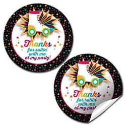 """Amanda Creation Roller Skating Birthday Party Thank You Sticker Labels 20 2"""" Party Circle Stickers By Great For Party Favors Env"""