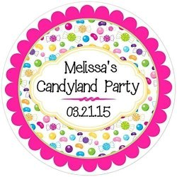 36 Birthday Labels Candy Land Birthday Stickers Customized Candy Birthday Labels