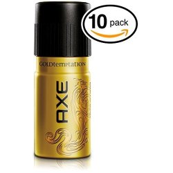 Axe Pack Of 10 Cans Gold Temptation Body Spray Antiperspirant & Deodorant. 48 Hour Odor Protection Energized & Fresh 10 Cans 5OZ