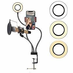 """3.5 """"usb 4-IN-1 Microphone Live Stand Set 6500K Brightness MINI LED Camera Light For Live Broadcast With 3 Light Modes - White Warm Yellow"""