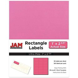 Jam Paper Mailing Address Labels - Standard Mailing - 1 X 2 5 8 - Ultra Pink - 120 Shipping Labels pack