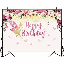 Allenjoy 7x5ft Pink Gold Fairy Birthday Backdrop Butterfly Garden Flowers Baby Girl Floral Dessert Table Banner Wonderland Tea Party Decorations Watercolor Photography Background Photo Prices Shop Deals Online Pricecheck