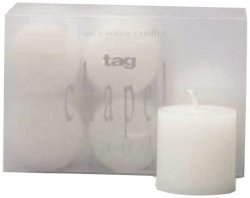 Tag 100050 White Unscented Votives Set Of 6