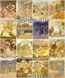 "Paper Moon Media Vintage Printed Collage Sheet ""english Fairy Tales"" 101 By Arthur Rackham Labels Scrapbooking Decoupage"
