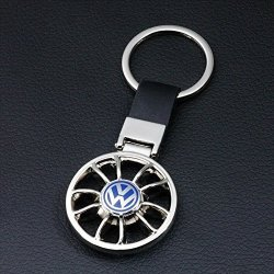 CHAMPLED VW Volkswagen Emblem Keychain Keyring Logo Fashion Rudder Double Symbol Sign Badge Personalized Custom Logotipo Quality PU Leather Nice Gift for Man Woman