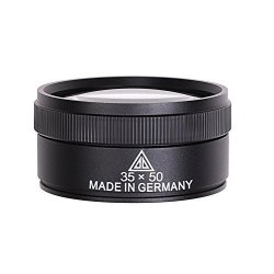 LONTG 35X Jeweler Lens Double Loupe Magnifier Handheld Magnifying Glass With Metal Construction 2 Optical Glass 35X X 36 Mm With Gifted Box