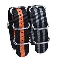 WATCH Band Nato Straps 2PCS Replacement Heavy Duty Nylon Straps With Stainless Steel Buckle 20 Black gray Black orange